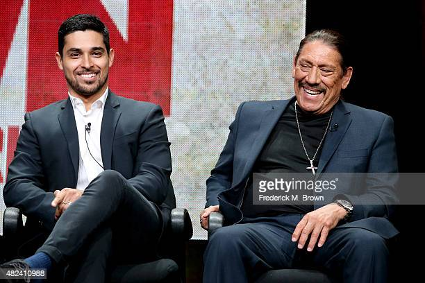 Actors Wilmer Valderrama and Danny Trejo speak onstage during the 'From Dusk Til Dawn The Series' panel discussion at the El Rey Network portion of...