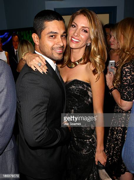 Actors Wilmer Valderrama and Dawn Olivieri attend the 23rd Annual Environmental Media Awards presented by Toyota and Lexus at Warner Bros Studios on...
