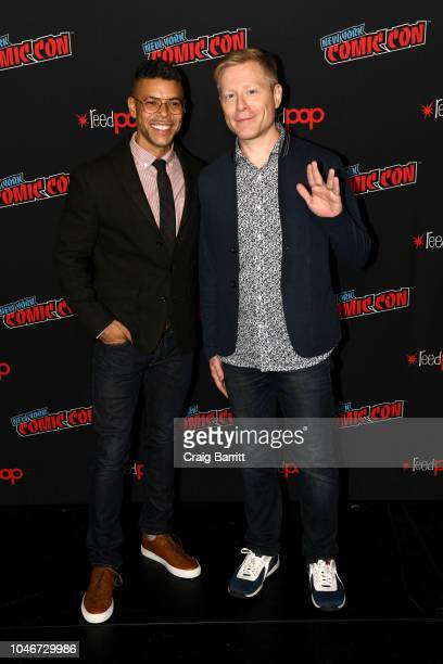 Actors Wilson Cruz and Anthony Rapp attend the Star Trek Discovery panel during New York Comic Con at The Hulu Theater at Madison Square Garden on...