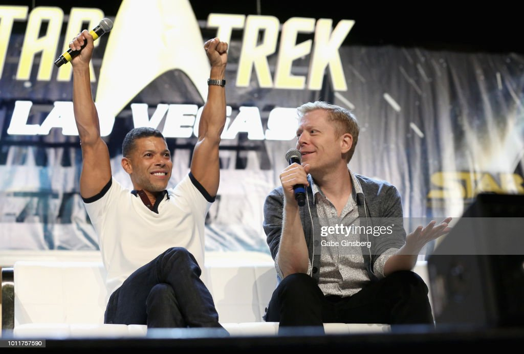 Actors Wilson Cruz (L) and Anthony Rapp speak at the 'Discovery - Part 3' panel during the 17th annual official Star Trek convention at the Rio Hotel & Casino on August 5, 2018 in Las Vegas, Nevada.
