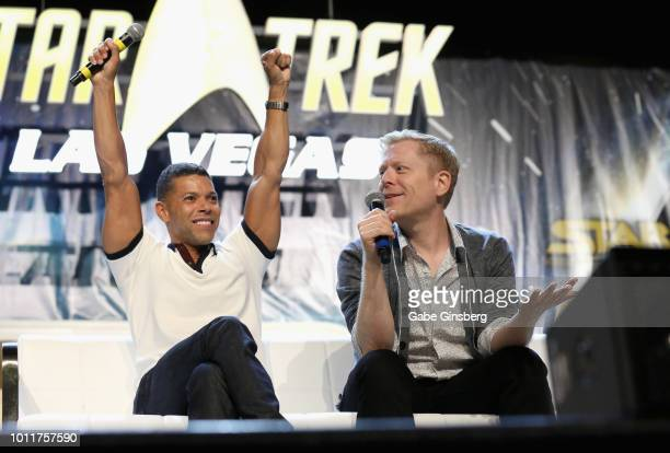 Actors Wilson Cruz and Anthony Rapp speak at the 'Discovery Part 3' panel during the 17th annual official Star Trek convention at the Rio Hotel...