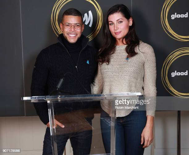 Actors Wilson Cruz and Trace Lysette attend GLAAD Media Awards Nominations Announcement At Sundance on January 19 2018 in Park City Utah