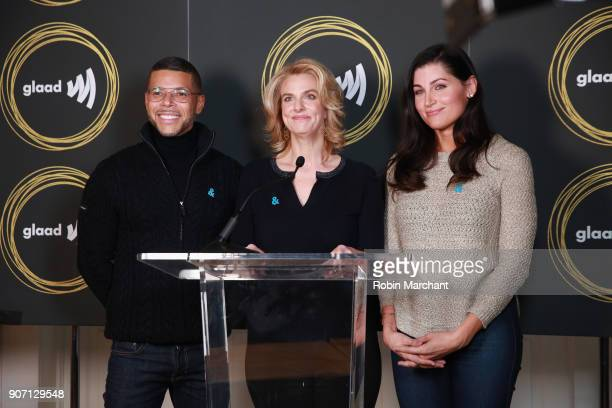 Actors Wilson Cruz and Trace Lysette with GLADD President and CEO Sarah Kate Ellis attend GLAAD Media Awards Nominations Announcement At Sundance on...