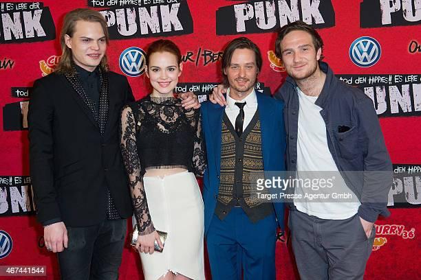 Actors Wilson Gonzalez Ochsenknecht Emilia Schuele Tom Schilling and Frederick Lau attend the premiere of the film 'Tod den Hippies Es lebe der Punk'...