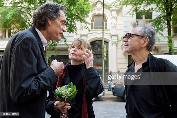 Actors Winfried Glatzeder Angelica Domroese and Hilmar Thate attend the screening of the 1973 film Die Legende von Paul und Paula at the Filmkunst 66...