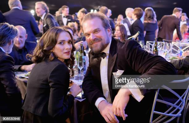 Actors Winona Ryder and David Harbour attend the 24th Annual Screen Actors Guild Awards at The Shrine Auditorium on January 21 2018 in Los Angeles...