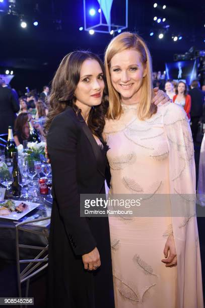 Actors Winona Ryder and Laura Linney attend the 24th Annual Screen Actors Guild Awards at The Shrine Auditorium on January 21 2018 in Los Angeles...