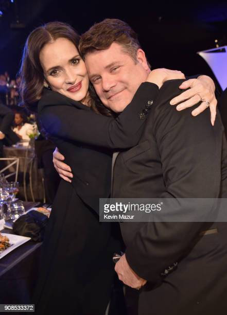 Actors Winona Ryder and Sean Astin pose during the 24th Annual Screen Actors Guild Awards at The Shrine Auditorium on January 21 2018 in Los Angeles...