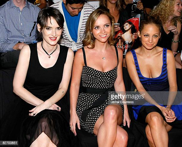 Actors Winona Ryder Christina Ricci and Nicole Ritchie attend the DKNY Celebrates 20 Years Runway Show at The Tent Bryant Park on September 7 2008 in...