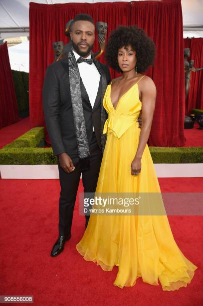 Actors Winston Duke and Sydelle Noel attend the 24th Annual Screen Actors Guild Awards at The Shrine Auditorium on January 21 2018 in Los Angeles...