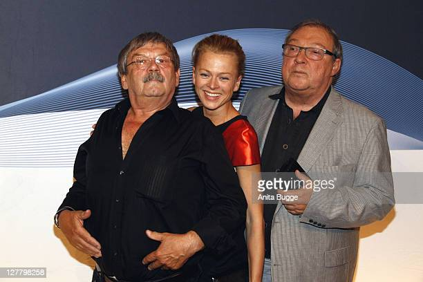 Actors Wolfgang Winkle Isabell Gerschke and Jaecki Schwarz attend the Polizeiruf 110 40th Anniversary Celebration at the Astor Filmlounge movie...