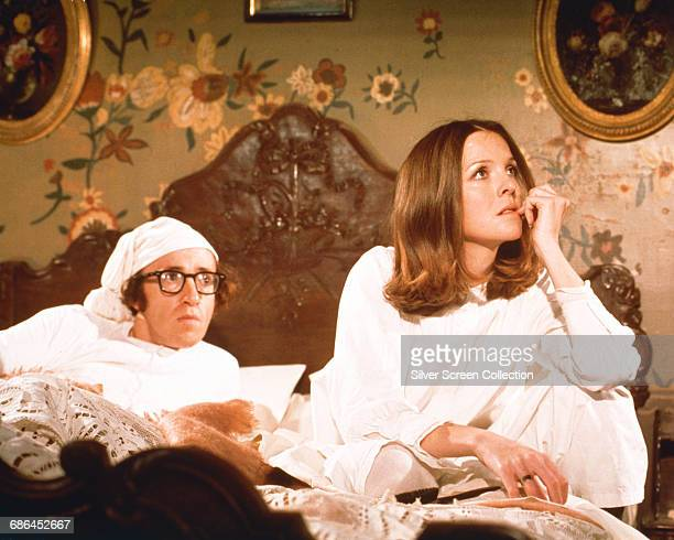 Actors Woody Allen and Diane Keaton as Boris and Sonja in the comedy film 'Love and Death' 1975