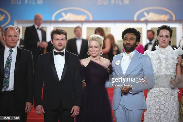 Actors Woody Harrelson Alden Ehrenreich Emilia Clarke Donald Glover and Phoebe WallerBridge depart the screening of 'Solo A Star Wars Story' during...