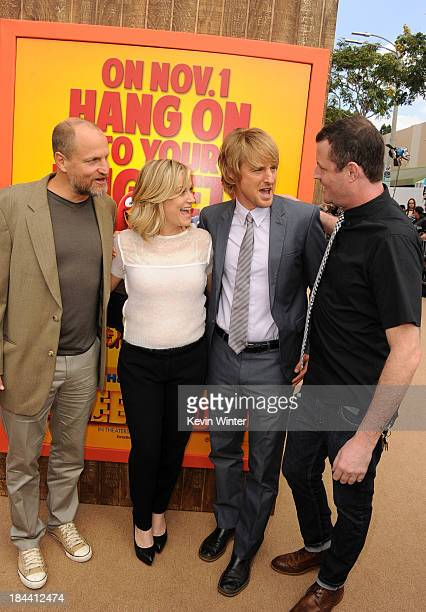 "Actors Woody Harrelson, Amy Poehler and Owen Wilson and director Jimmy Hayward attend the premiere of Relativity Media's ""Free Birds"" at Westwood..."