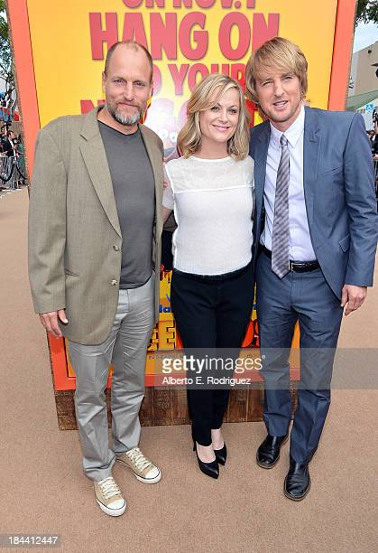 "Actors Woody Harrelson, Amy Poehler and Owen Wilson arrive at the premiere of Relativity Media's ""Free Birds"" at the Westwood Village Theatre on..."