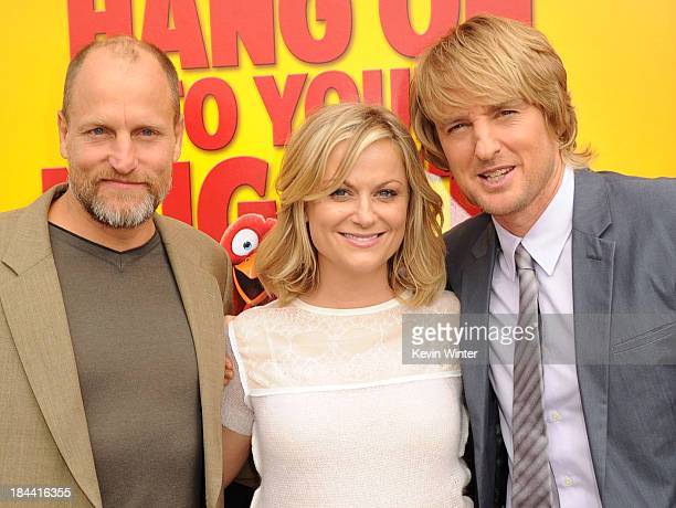 "Actors Woody Harrelson, Amy Poehler and Owen Wilson attend the premiere of Relativity Media's ""Free Birds"" at Westwood Village Theatre on October 13,..."