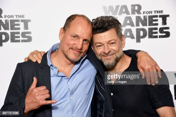"Actors Woody Harrelson and Andy Serkis attend a screening of ""War For The Planet Of The Apes"" at The Ham Yard Hotel on June 19, 2017 in London,..."