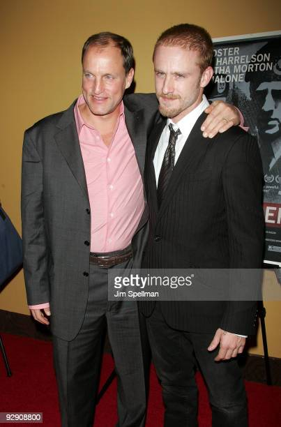 Actors Woody Harrelson and Ben Foster attend The Messenger Premiere at Clearview Chelsea Cinemas on November 8 2009 in New York City