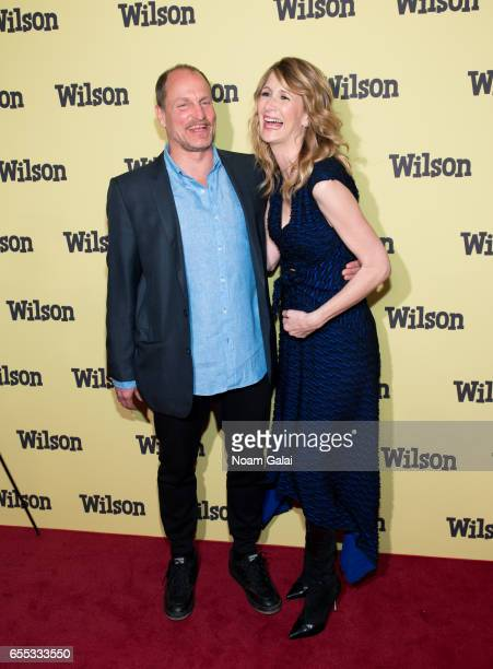 Actors Woody Harrelson and Laura Dern attend the 'Wilson' New York screening at the Whitby Hotel on March 19 2017 in New York City