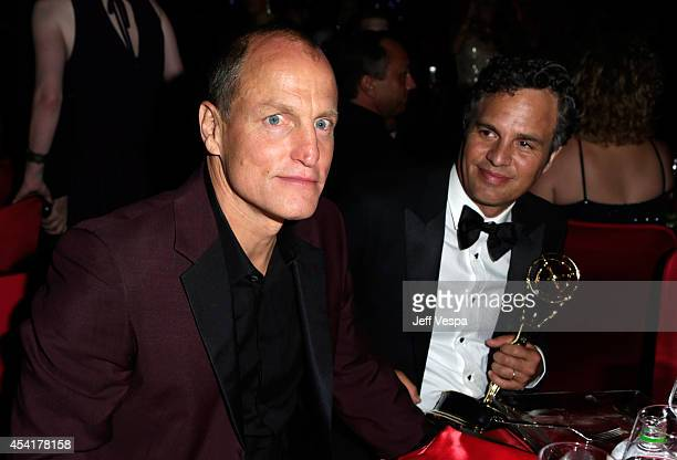 Actors Woody Harrelson and Mark Ruffalo attend the 66th Annual Primetime Emmy Awards Governors Ball held at Los Angeles Convention Center on August...