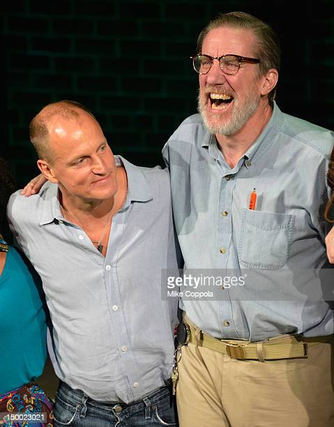Actors Woody Harrelson and Nick Wyman take a curtain call at the Bullet For Adolf Off Broadway Opening Night at New World Stages on August 8 2012 in...