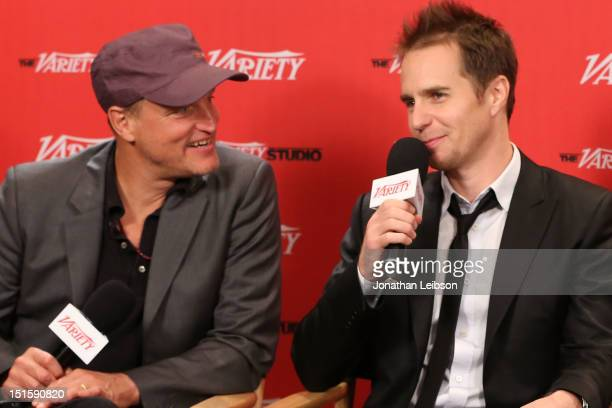 Actors Woody Harrelson and Sam Rockwell at Variety Studio presented by Moroccanoil on Day 1 at Holt Renfrew, Toronto during the 2012 Toronto...