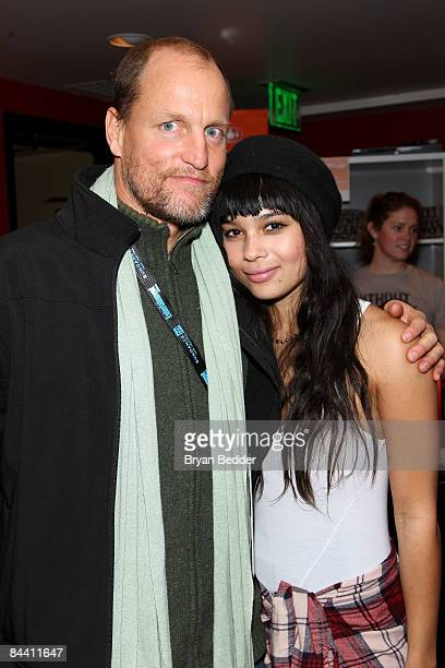 Actors Woody Harrelson and Zoe Kravitz attend The People Speak ASCAP Music Cafe performance held during the 2009 Sundance Music Festival on January...