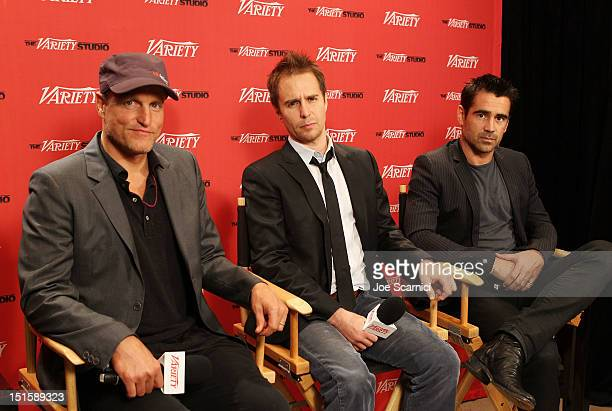 Actors Woody Harrelson, Sam Rockwell and Colin Farrell at Variety Studio presented by Moroccanoil on Day 1 at Holt Renfrew, Toronto during the 2012...