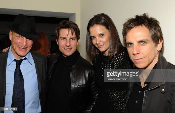Actors Woody Harrelson Tom Cruise Katie Holmes and Ben Stiller at the Golden Globes party hosted by T Magazine and Dom Perignon at Chateau Marmont on...