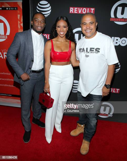 Actors Woody McClain and Michelle Mitchenor pose with Executive producer Irv Gotti during the 21st Annual Urbanworld Film Festival at AMC Empire 25...