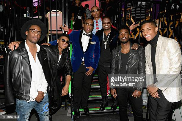 Actors Woody McClain Bryshere Y Gray recording artists Michael Bivins Ronnie DeVoe Ricky Bell of New Edition actors Luke James and Keith Powers are...