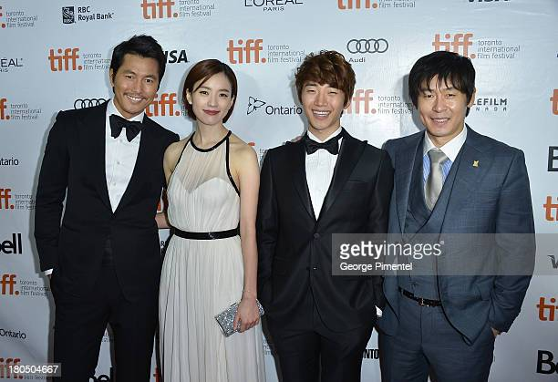 Actors Woosung Jung Han Hyojoo Lee Junho and Sol Kyunggu attend the Cold Eyes premiere during the 2013 Toronto International Film Festival at Roy...