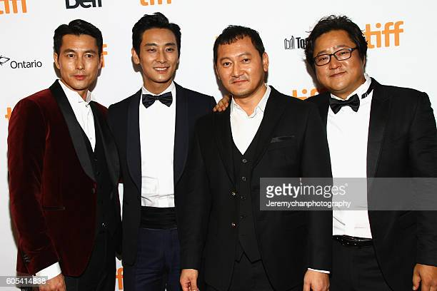Actors Woosung Jung Ju Jihoon Jung Mansik and Do Won Kwak attend the 'Asura The City Of Madness' premiere held at The Elgin during the Toronto...