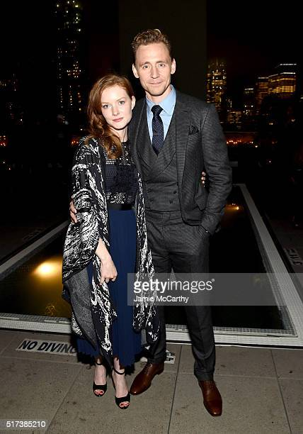 Actors Wrenn Schmidt and Tom Hiddleston attend the after party for the screening of Sony Pictures Classics' I Saw the Light hosted by The Cinema...