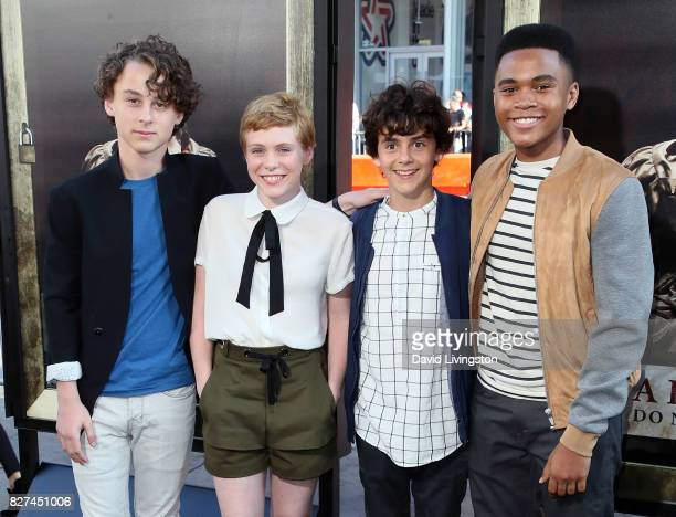 Actors Wyatt Oleff Sophia Lillis Jack Dylan Grazer and Chosen Jacobs attend the premiere of New Line Cinema's Annabelle Creation at TCL Chinese...