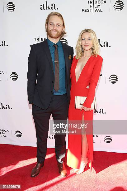 """Actors Wyatt Russell and Meredith Hagner attend the """"Folk Hero & Funny Guy"""" Premiere during the 2016 Tribeca Film Festival at SVA Theater 1 on April..."""