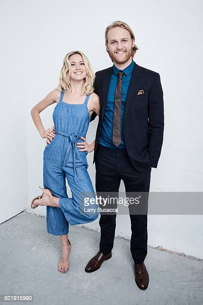 """Actors Wyatt Russell and Meredith Hagner from """"Folk Hero & Funny Guy"""" pose at the Tribeca Film Festival Getty Images Studio on April 16, 2016 in New..."""