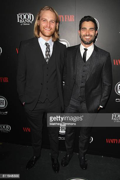 Actors Wyatt Russell and Tyler Hoechlin attend Vanity Fair and FIAT Toast To Young Hollywood at Chateau Marmont on February 23 2016 in Los Angeles...