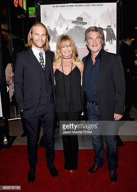 """Actors Wyatt Russell, Goldie Hawn and Kurt Russell attend the Premiere of The Weinstein Company's """"The Hateful Eight"""" at ArcLight Cinemas Cinerama..."""
