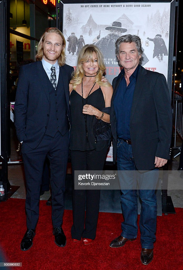 Actors Wyatt Russell, Goldie Hawn and Kurt Russell attend the premiere of The Weinstein Company's 'The Hateful Eight' at ArcLight Cinemas Cinerama Dome on December 7, 2015 in Hollywood, California.
