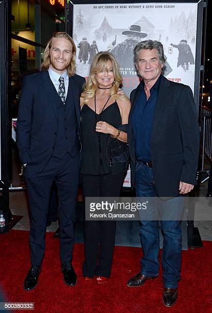 Actors Wyatt Russell, Goldie Hawn and Kurt Russell attend the premiere of The Weinstein Company's 'The Hateful Eight' at ArcLight Cinemas Cinerama...