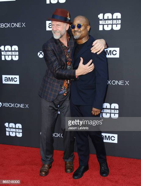 Actors Xander Berkeley and Seth Gilliam attend the 100th episode celebration off 'The Walking Dead' at The Greek Theatre on October 22 2017 in Los...