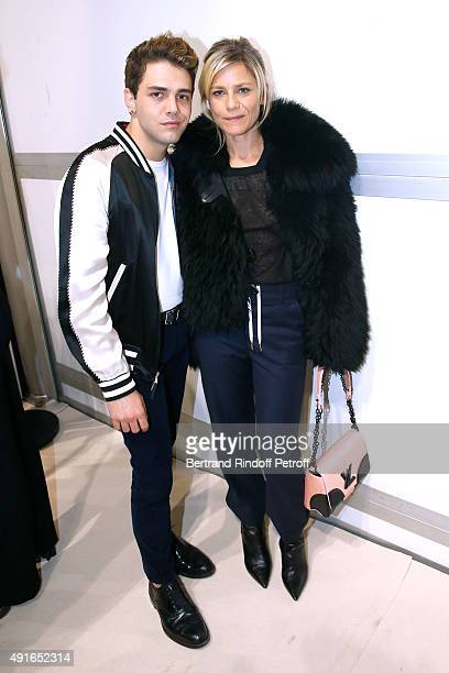 Actors Xavier Dolan and Marina Fois pose Backstage after the Louis Vuitton show as part of the Paris Fashion Week Womenswear Spring/Summer2016 Held...