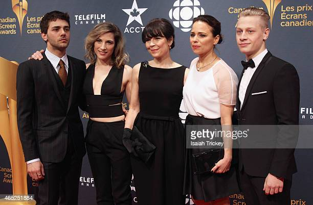 Actors Xavier Dolan Nancy Grant Anne Dorval Suzanne Clement and AntoineOlivier Pilon from the film 'Mommy' arrive at the 2015 Canadian Screen Awards...