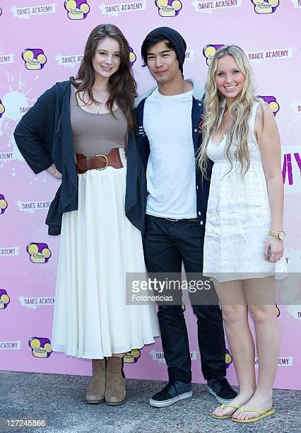 Actors Xenia Goodwin Jordan Rodrigues and Alicia Banit attend 'Dance Academy' photocall at Disney Channel on September 27 2011 in Madrid Spain