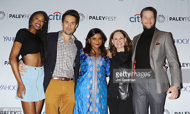 Actors Xosha Roquemore Ed Weeks Mindy Kaling Beth Grant and Ike Barinholtz attend the PaleyFest New York 2015 'The Mindy Project' at The Paley Center...