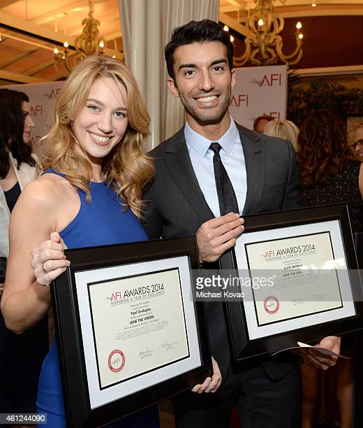 Actors Yael Grobglas and Justin Baldoni attend the 15th Annual AFI Awards Luncheon at Four Seasons Hotel Los Angeles at Beverly Hills on January 9...
