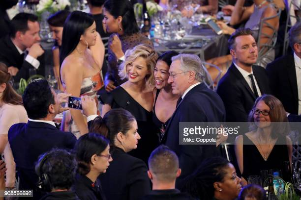 Actors Yael Grobglas Gina Rodriguez and Robert De Niro attend the 24th Annual Screen Actors Guild Awards at The Shrine Auditorium on January 21 2018...