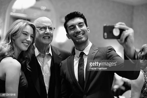Actors Yael Grobglas Jeffrey Tambor and Justin Baldoni attend the 15th Annual AFI Awards at Four Seasons Hotel Los Angeles at Beverly Hills on...