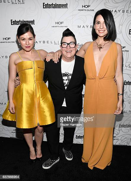 Actors Yael Stone Lea DeLaria and Beth Dover attend the Entertainment Weekly Celebration of SAG Award Nominees sponsored by Maybelline New York at...